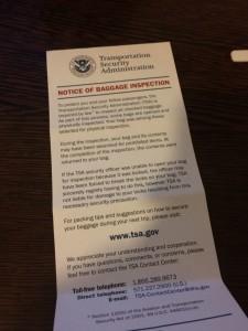 Notiță verificare bagaj TSA Statele Unite