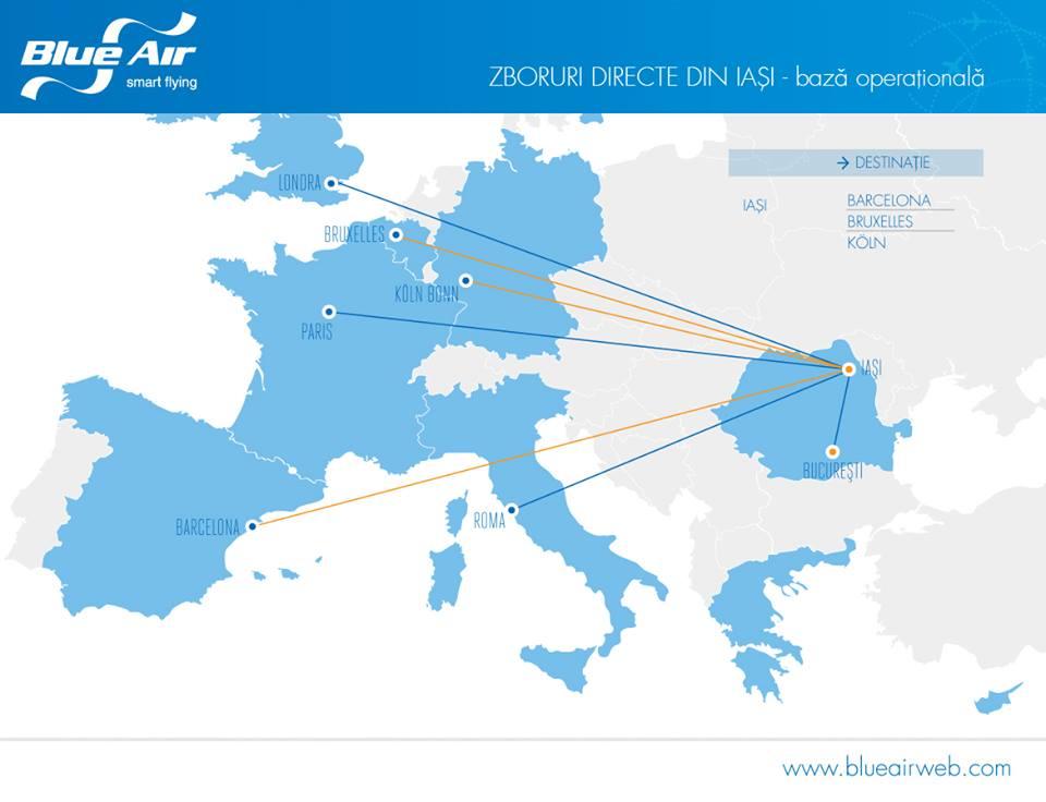 Zboruri Blue Air din Iasi in orarul de vara 2016