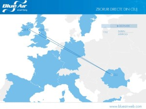 Zborurile Blue Air din Cluj Napoca operate incepand cu 1 iunie 2016