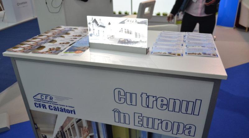 Stand CFR pentru promovarea călătoriilor cu trenul în Europa