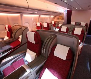 Scaun Business Class pe avion Qatar Airways