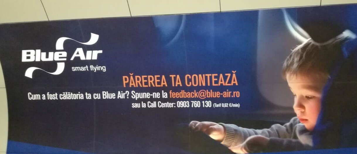 Blue Air - banner feedback plătit la call center