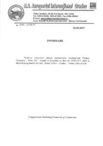 Comunicat Aeroport Oradea anulare curse Blue Air - Oradea - Torino
