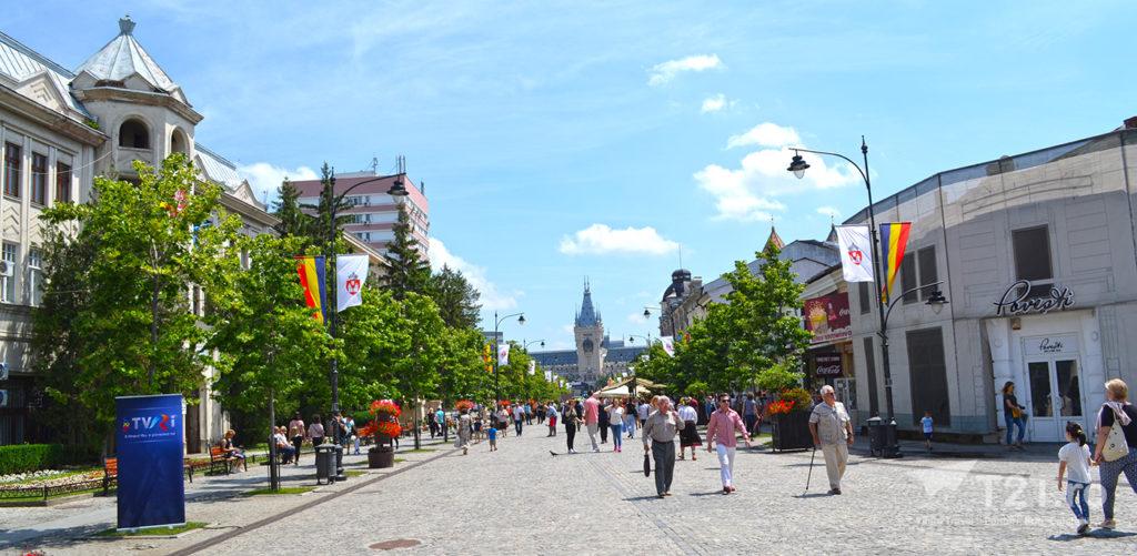 Zona pietonală care duce spre Palatul Culturii din Iași