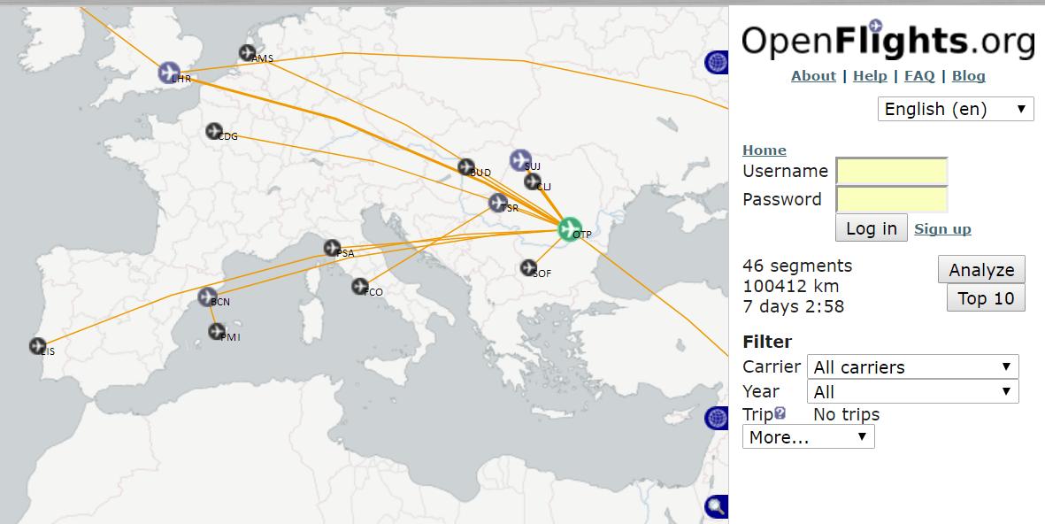 Evidența zborurilor - Captură OpenFlights.org