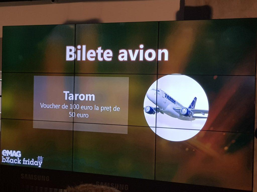 Captură prezentare conferință de presă eMAG legat de Black Friday - Ofertă bilete avion TAROM